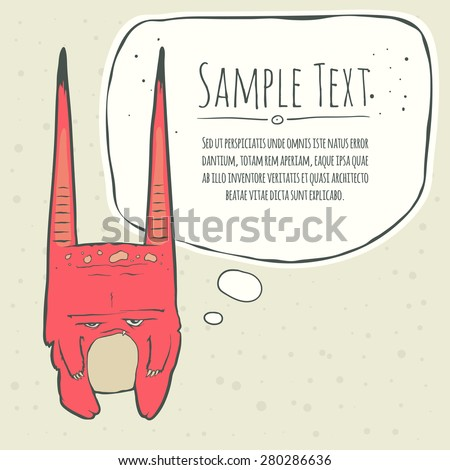 Vector illustration of little pink monster with long ears, fangs and a light belly. Hand drawing cartoon. Greeting card with speech bubble. The concept of the character on a uniform background. - stock vector