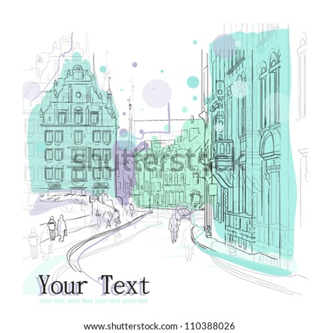 vector illustration of little street. - stock vector