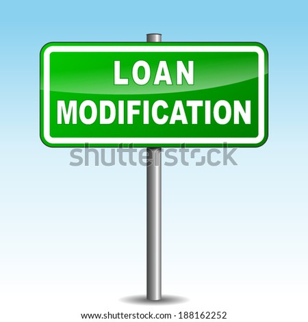 Vector illustration of loan modification signpost on sky background