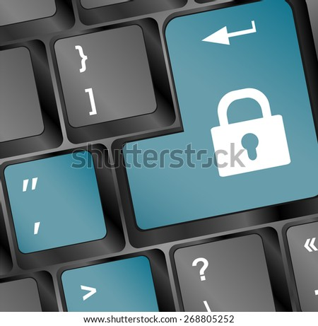 vector illustration of lock concept button on keyboard - stock vector