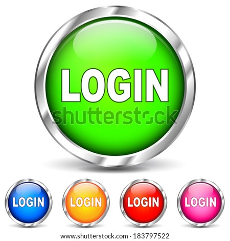 Vector illustration of login chrome icons on white background - stock vector