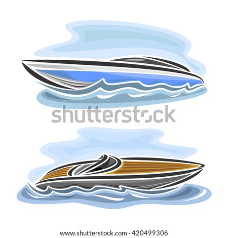 Vector illustration of logo for speed boat powerboat, consisting of  2 racing motorboat, floating on the ocean sea waves, luxury expensive sport  motor longboat close-up on blue background