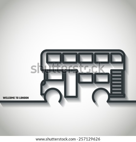 Vector Illustration of London Double Bus Icon Outline for Design, Website, Background, Banner. Travel Britain Landmark Element Template for Tourism Flyer - stock vector