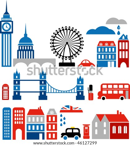 Vector illustration of London with colorful icons of routemaster buses and landmark buildings - stock vector