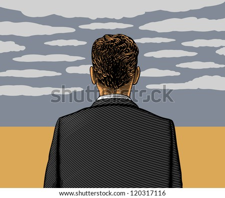 Vector illustration of lonely man with cloudy sky - stock vector