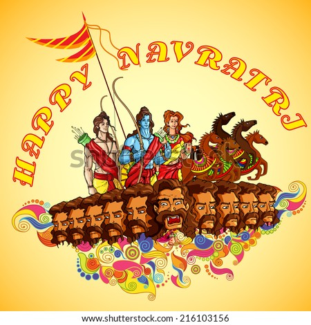 vector illustration of Lord Rama,Laxmana and Sita with Ravana in Happy Dussehra - stock vector