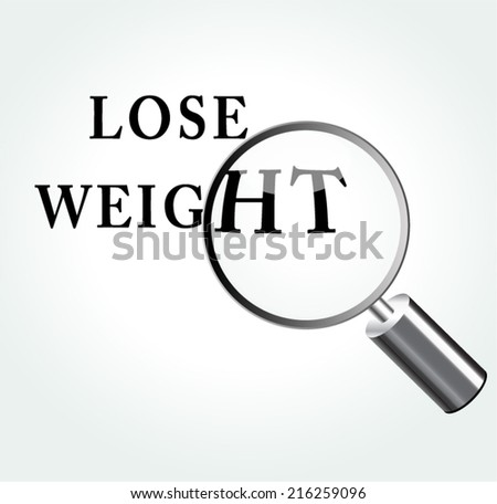 Vector illustration of lose weight abstract concept with magnifying