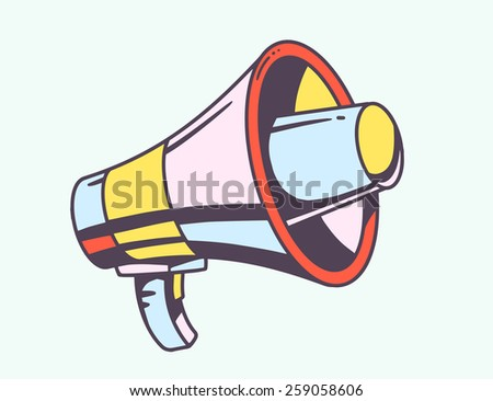 Vector illustration of loudspeaker on light background. Colorful hand draw line art design for web, site, advertising, banner, poster, board and print. - stock vector