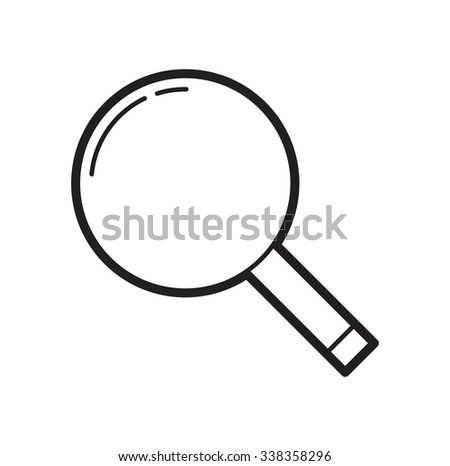 vector illustration of loupe magnify line flat icon