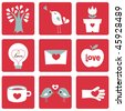 Vector illustration of Love icons. Ideal for Valentine Cards decoration - stock vector