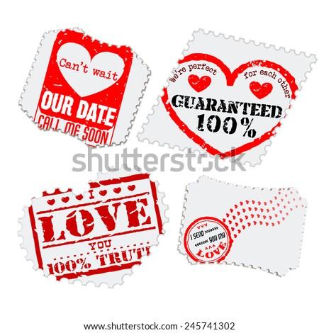 Vector Illustration of Love Postage Emblem Stamp Element Design, Website, Background, Letter, Banner. Label Logo Valentine Day Template for Lovers Romantic Send - stock vector