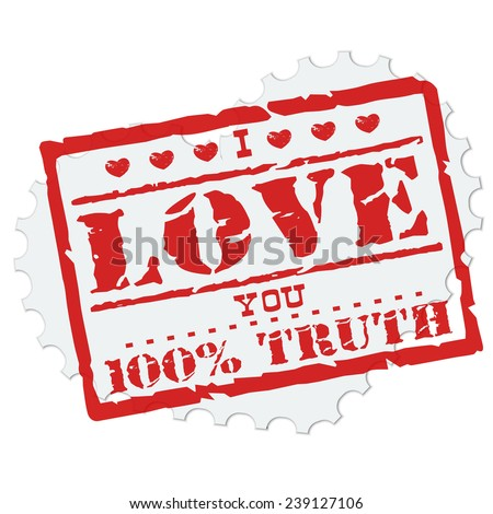 Vector Illustration of Love Postage Stamp Element Design, Website, Background, Letter, Banner. Label Logo Valentine Day Template - stock vector
