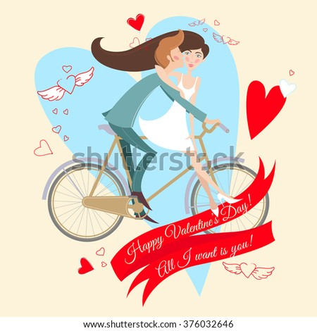 Vector Illustration of Loving couple on the bicycle. Valentine's day greeting card. - stock vector