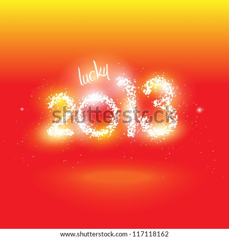 Vector illustration of lucky 2013 in fireworks and sparks - stock vector
