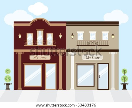 Vector illustration of luxury clothing stores. Window display can be easily edited if you want to add merchandise to display. No gradient used. - stock vector