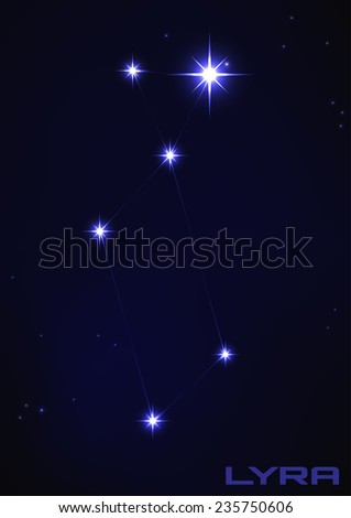 Vector illustration of Lyra constellation in blue  - stock vector