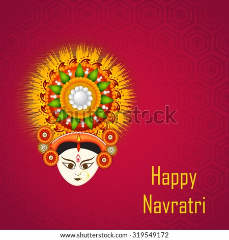 Vector illustration of Maa Durga in a colourfull background for Happy Navratri.