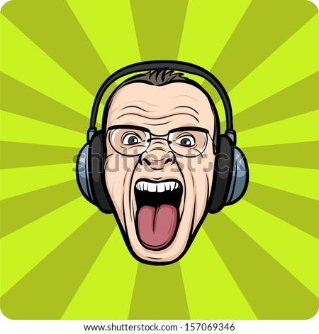 Vector illustration of Mad face sticking tongue with headphones. Easy-edit layered vector EPS10 file scalable to any size without quality loss. High resolution raster JPG file is included. - stock vector