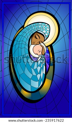 Vector illustration of Madonna and infant Jesus. - stock vector