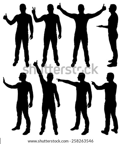 Vector illustration of male silhouettes. - stock vector