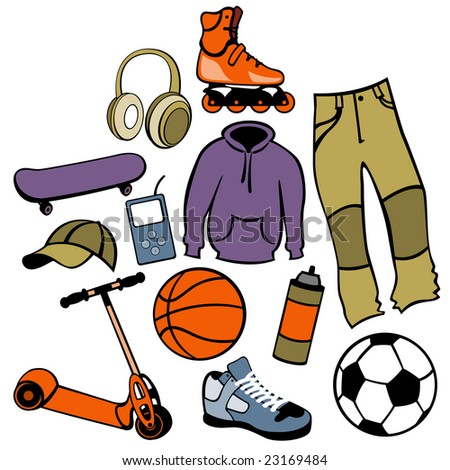 Vector illustration of man accessories set related to urban life style. - stock vector