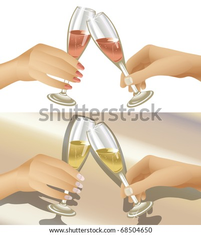 Vector illustration of man and woman clinking champagne flutes. Two variations - stock vector
