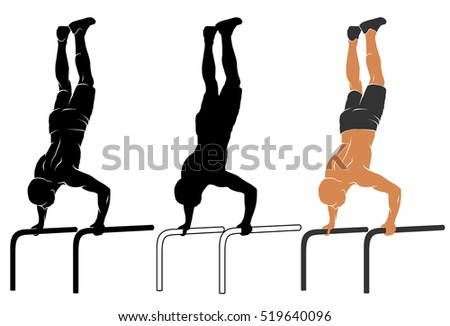 Vector illustration of man performing push-up on parallel bars.