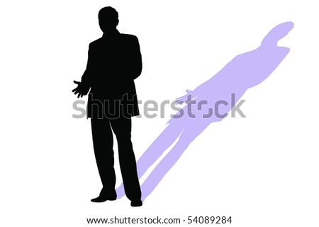 Vector illustration of man silhouette and his shadow - stock vector