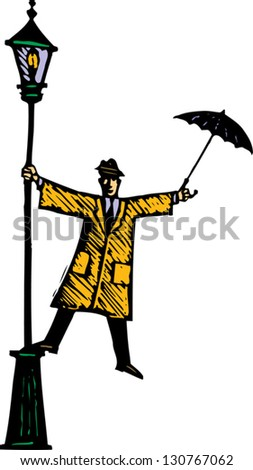 Vector illustration of man singing in the rain - stock vector