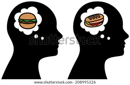 Vector illustration of man think about unhealthy food, hamburger, weight loss concept - stock vector