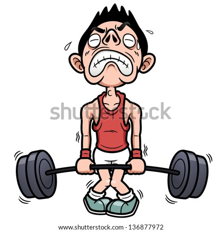 The Rules of Safe Lifting - Cartoon of main straining with weights