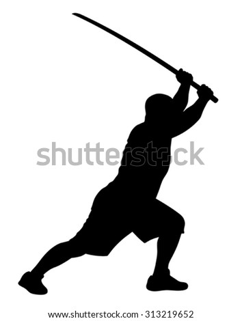 Vector illustration of man with bokken silhouette