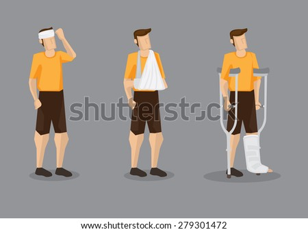 Vector illustration of man with head bandage, arm sling and leg plaster cast with crutch isolated on grey background. - stock vector