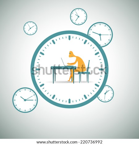 Vector illustration of man working with laptop inside a clock. - stock vector