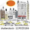 Vector illustration of Manhattan buildings, traffic and pedestrians, New York. - stock photo