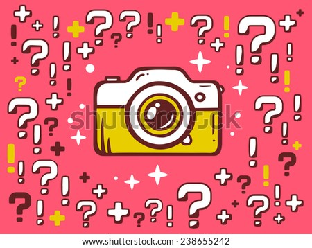 Vector illustration of many questions and exclamation marks around photo camera on red pattern background. Line art design for web, site, advertising, banner, poster, board and print. - stock vector