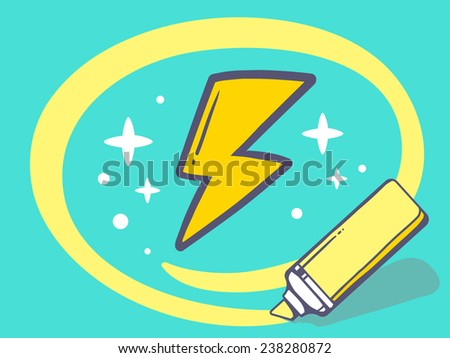 Vector illustration of marker drawing circle around lightning on green background. Line art design for web, site, advertising, banner, poster, board and print. - stock vector