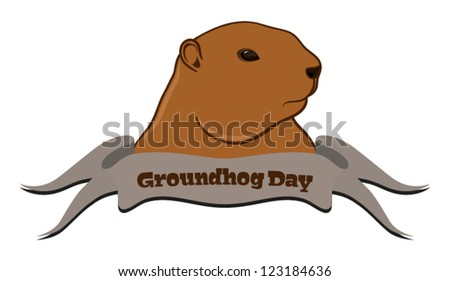 Vector illustration of marmot with ribbon in front, isolated on white background - stock vector