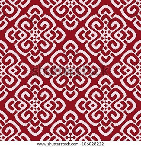 Vector illustration of maroon seamless damask pattern - stock vector