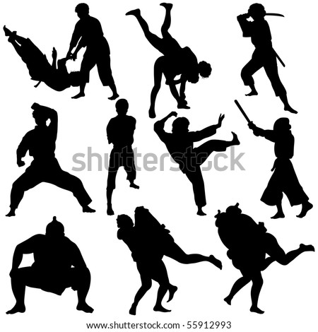 Vector illustration of Martial Arts Silhouette.