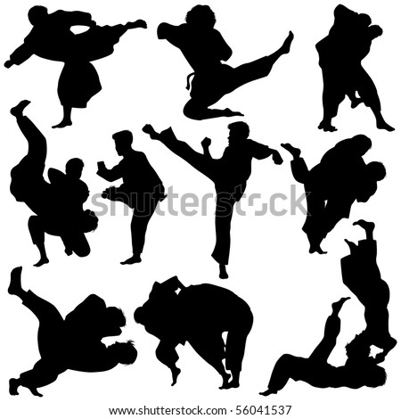 Vector illustration of Martial Arts Silhouette - stock vector