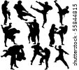 Vector illustration of Martial Arts Silhouette. This file is vector for easy editing. - stock photo