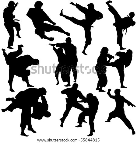 Vector illustration of Martial Arts Silhouette. This file is vector for easy editing. - stock vector