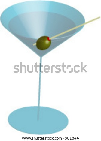 Vector illustration of martini with olive