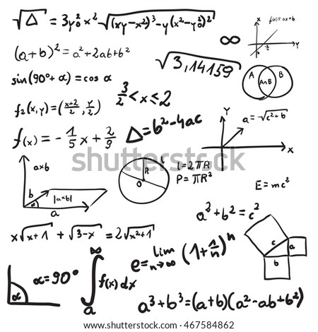 Vector illustration of mathematics doodle. Isolated on white background