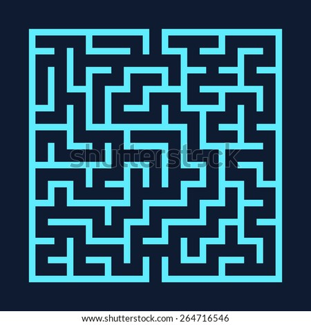 Vector illustration of maze / labyrinth. Isolated on black background, eps 8. - stock vector