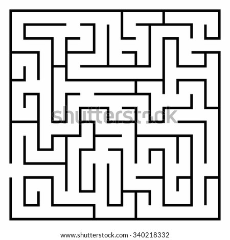 Vector illustration of Maze or Labyrinth isolated on white background. - stock vector
