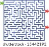 Vector illustration of maze with two exits but only one solution - stock vector