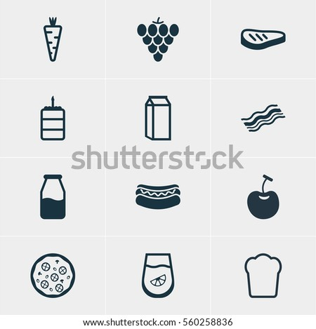 Vector Illustration Of 12 Meal Icons. Editable Pack Of Pastry, Juice, Pizzeria And Other Elements.
