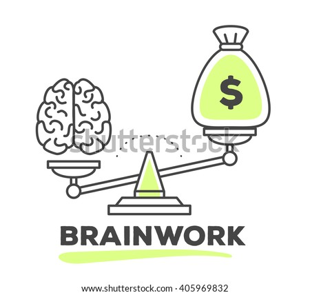 vector illustration of mechanism to compare value of brain work and money on scales on white